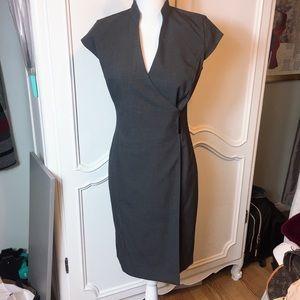 Calvin Klein Charcoal Gray V-neck Wrap Dress